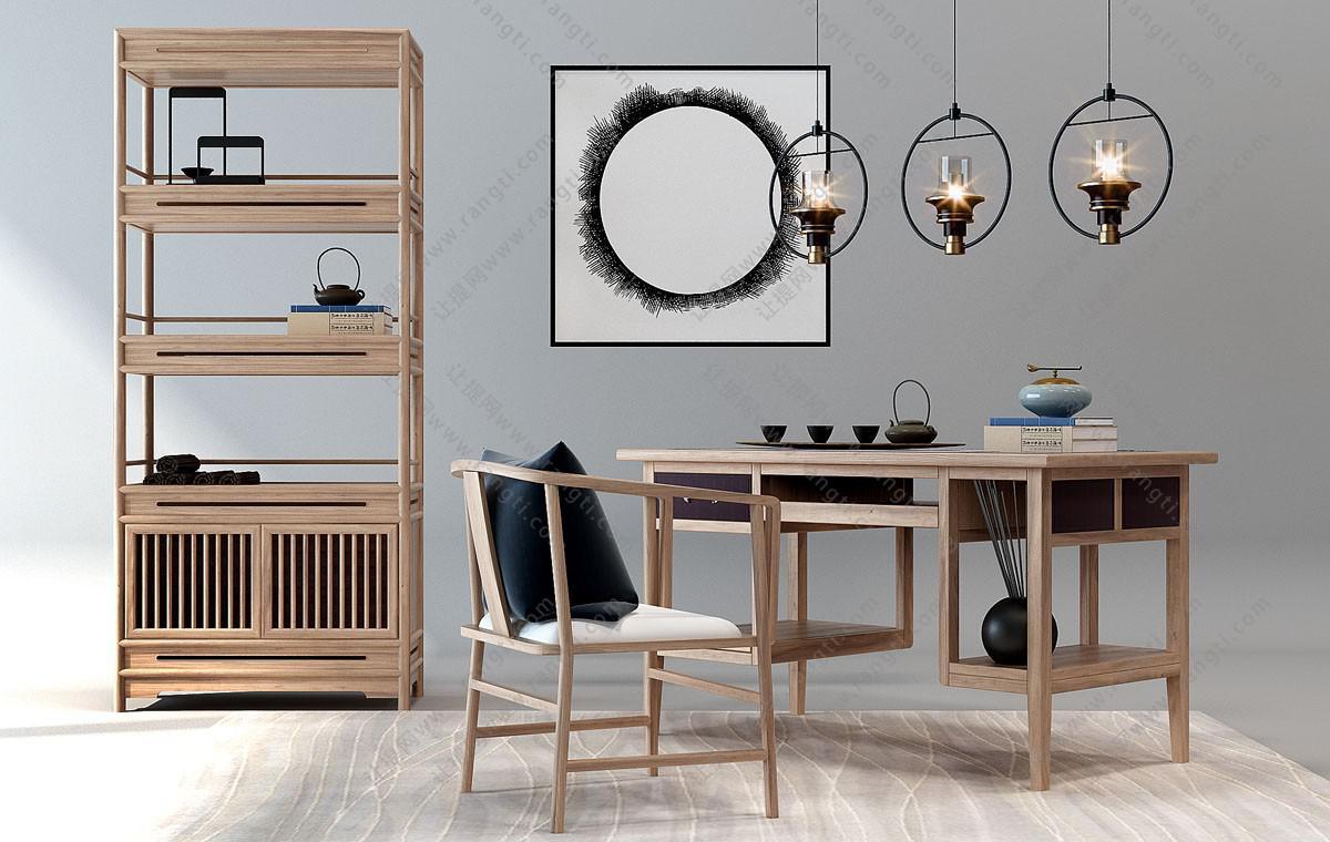 新中式实木书桌椅、书架组合3D模型