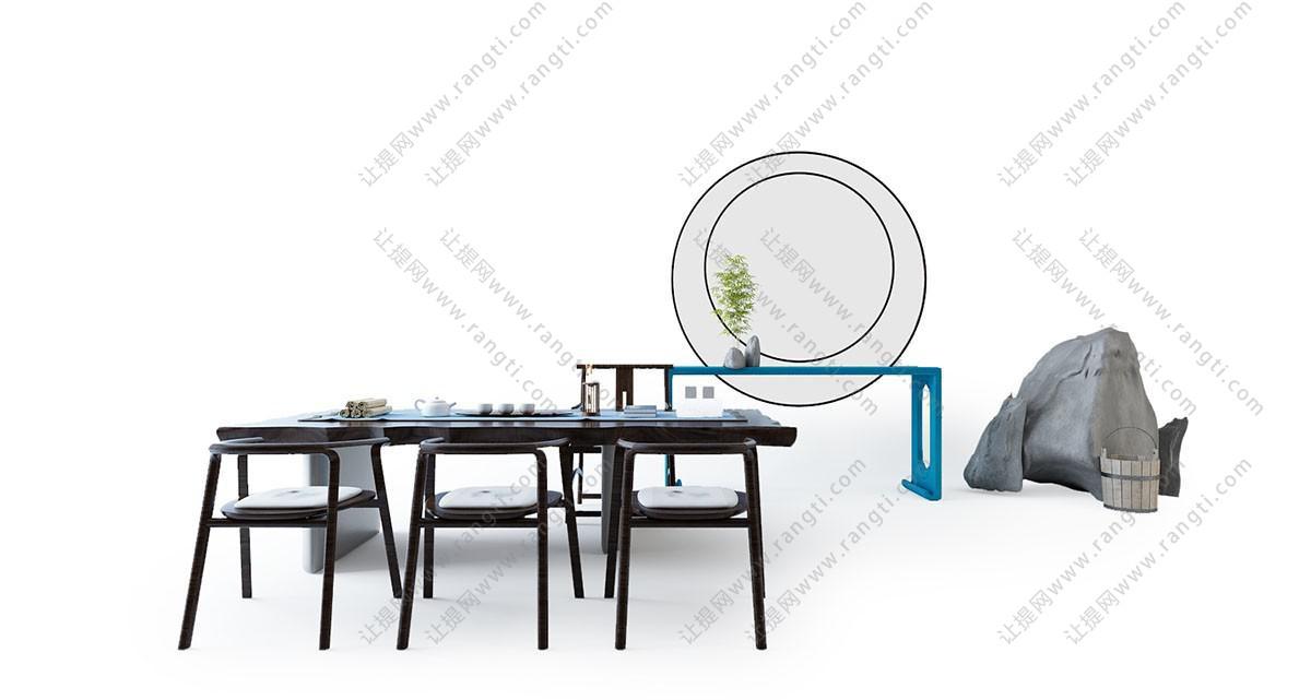 新中式书桌椅、茶台3D模型