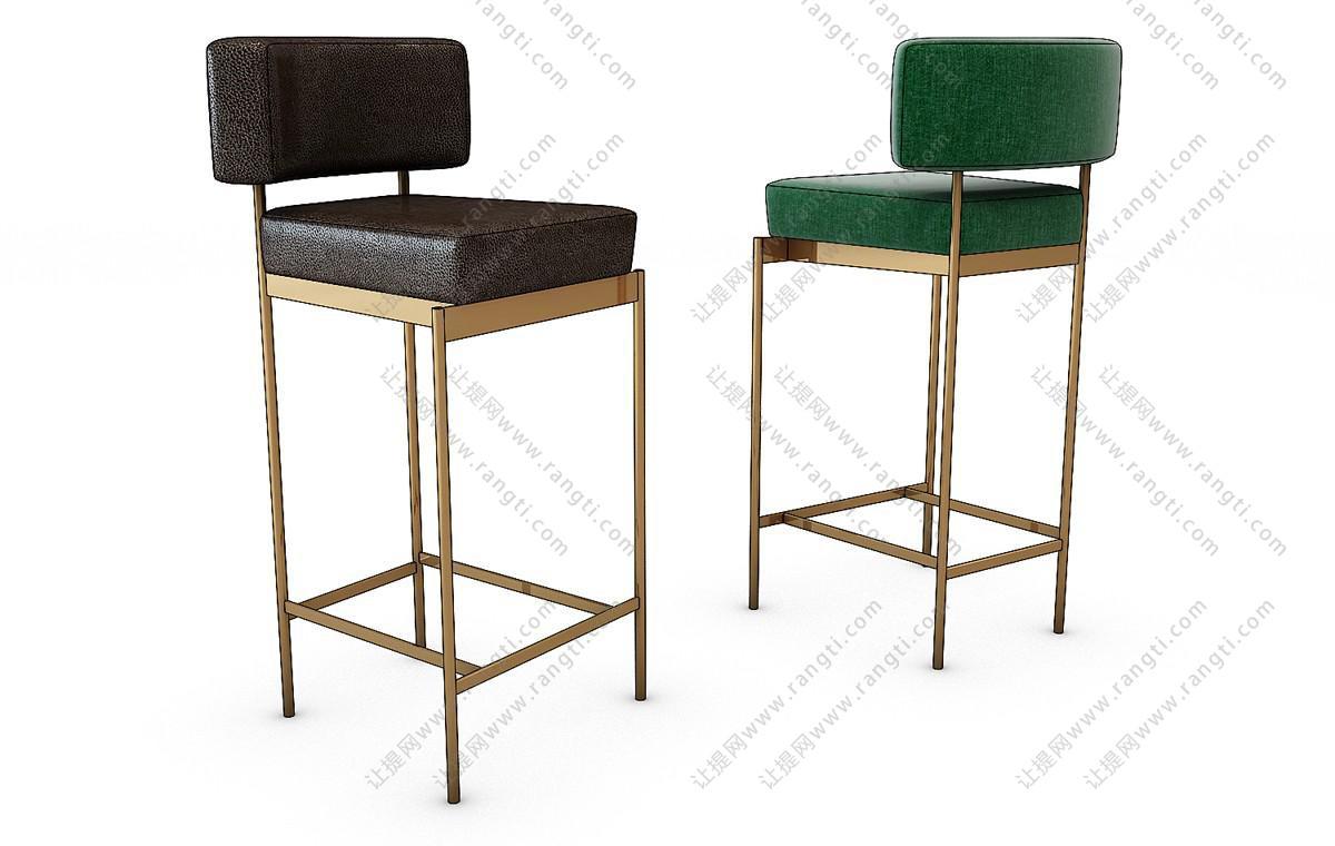 现代轻奢方形吧台椅3D模型