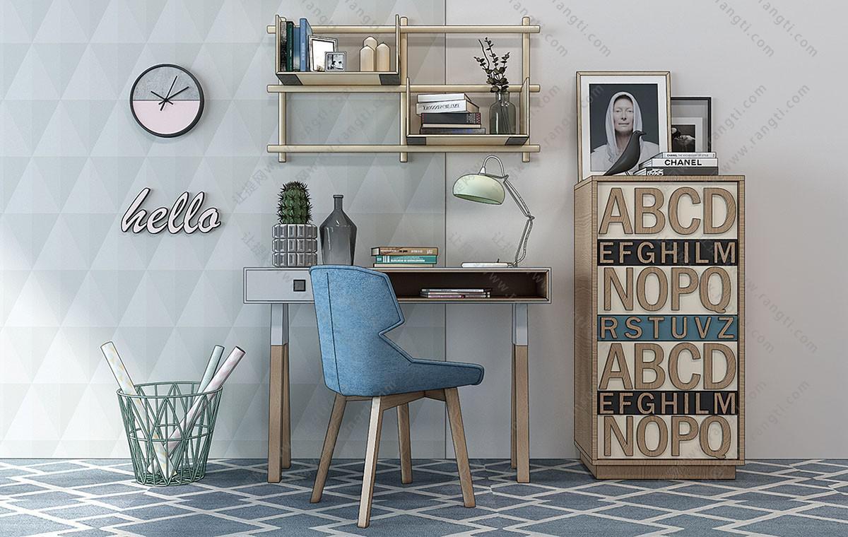 北欧书桌椅、字母收纳柜组合3D模型