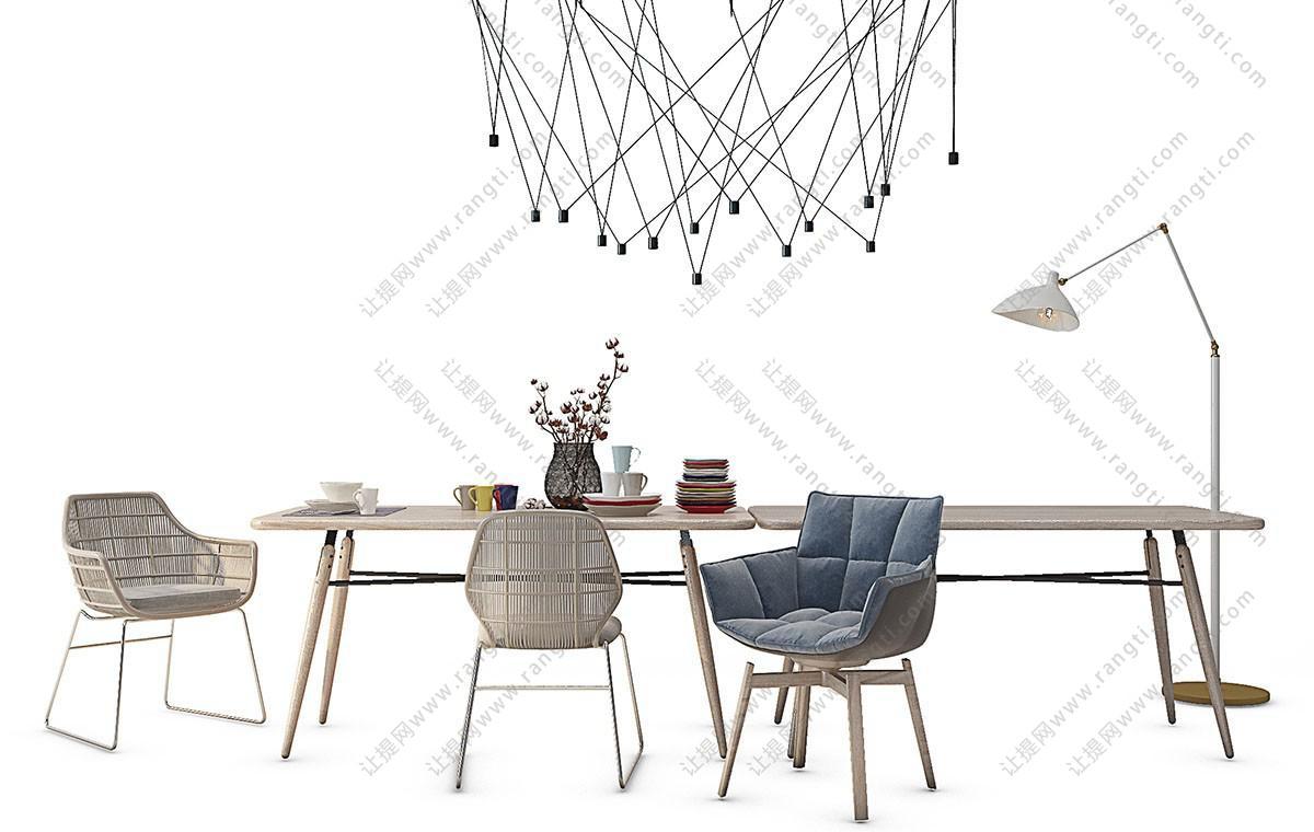 北欧轻奢铁艺餐桌椅组合3D模型