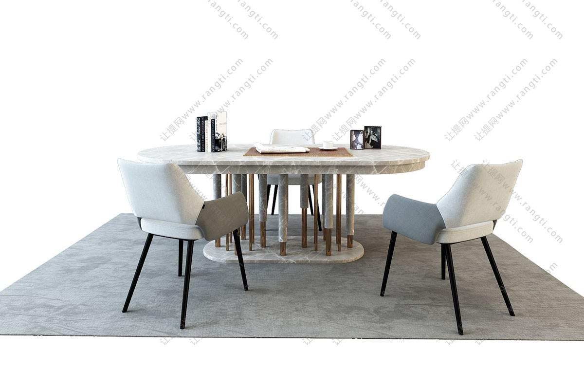 现代轻奢大理石椭圆形餐桌椅组合3D模型