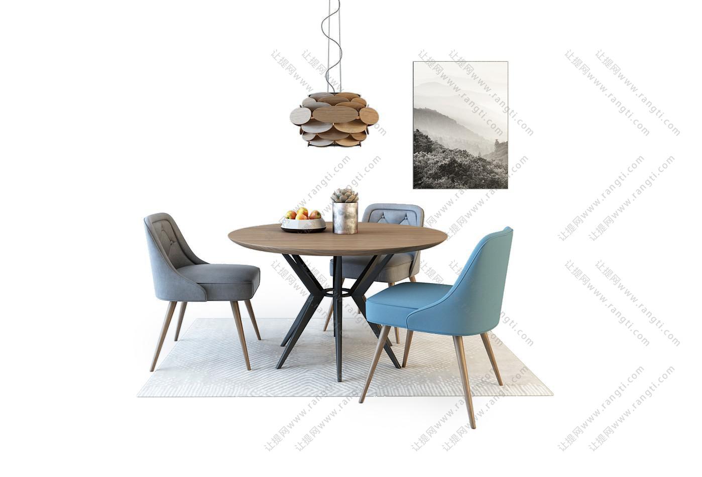 北欧实木圆形餐桌椅组合3D模型