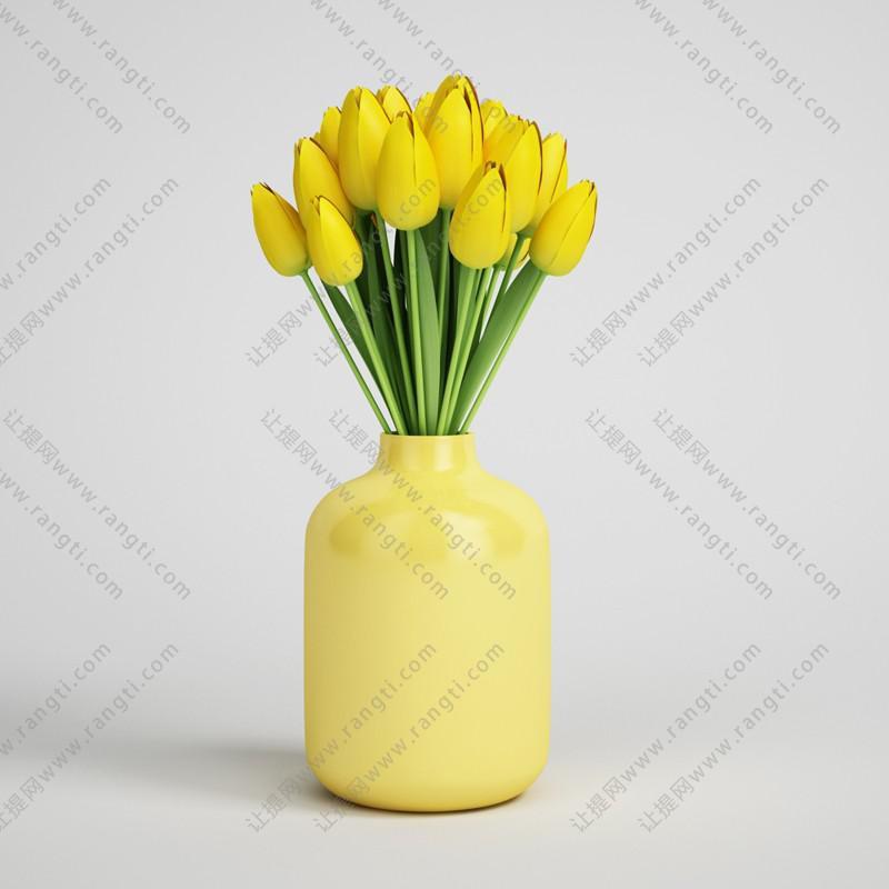 郁金香花瓶花卉植物、绿植3D模型