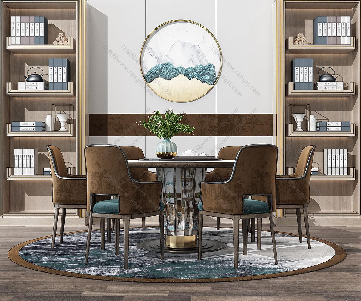 新中式布艺圆形餐桌椅、书柜组合3D模型