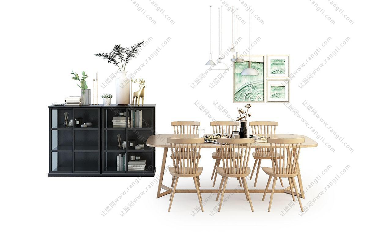 北欧实木六人位餐桌椅、装饰柜组合3D模型