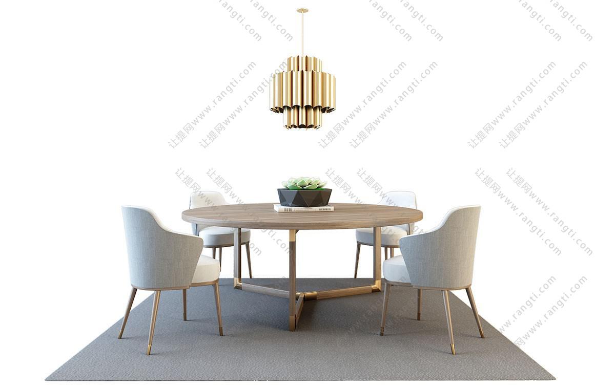 北欧轻奢圆形餐桌椅、吊灯组合3D模型