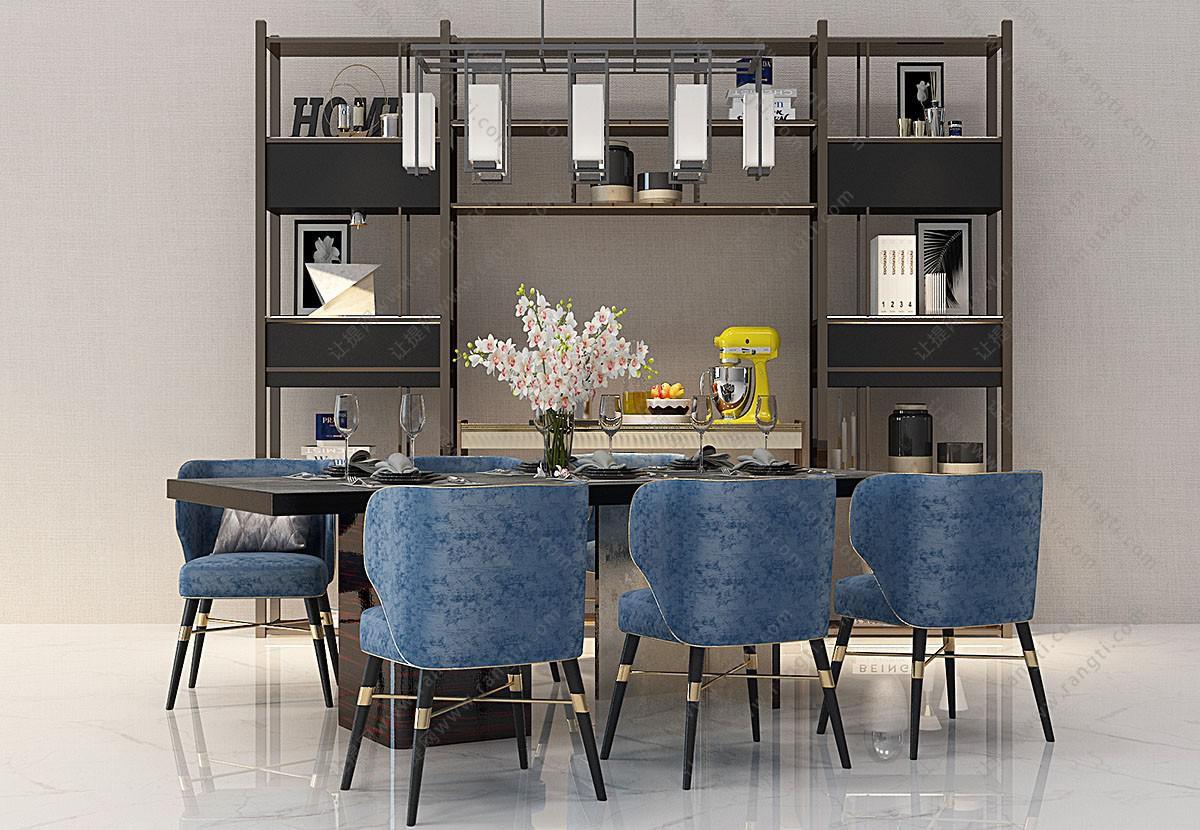 简欧实木布艺餐桌椅、餐边柜组合3D模型