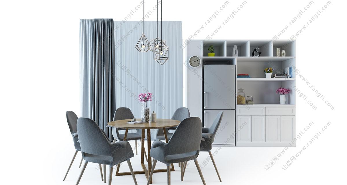 北欧布艺实木餐桌椅、吊灯组合3D模型