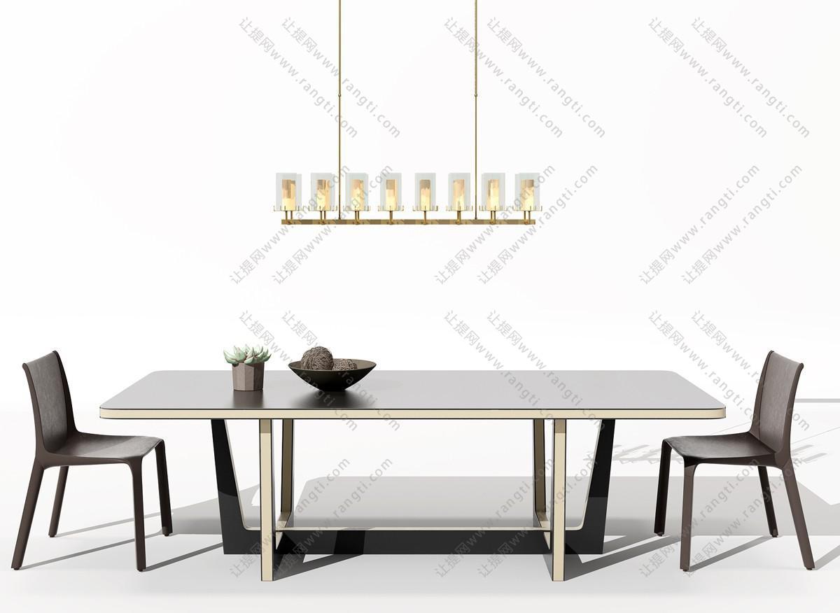 现代长方形餐桌椅、吊灯组合3D模型