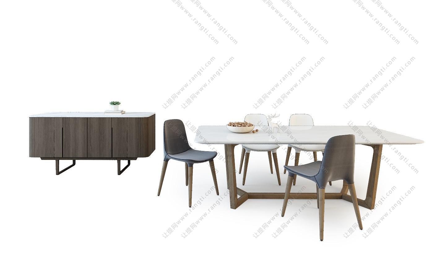 新中式实木餐桌椅、餐边柜组合3D模型