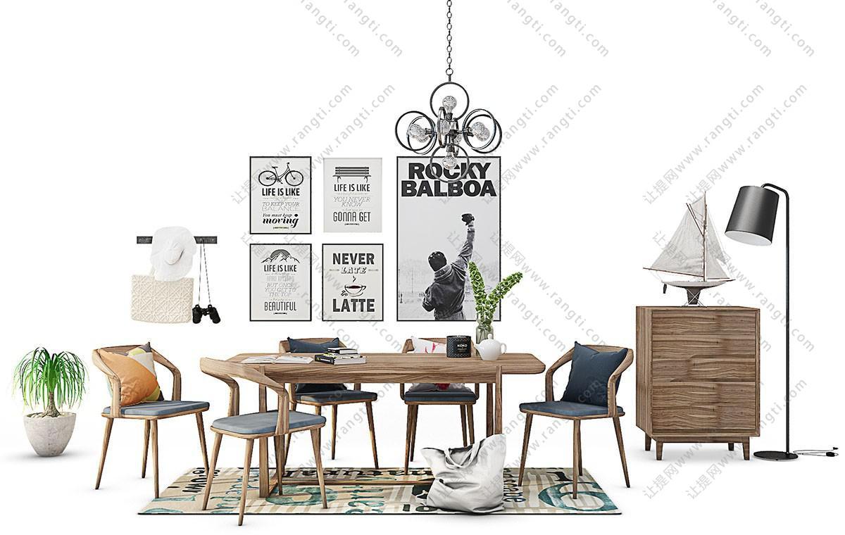 北欧实木布艺餐桌椅、装饰画、边柜组合3D模型