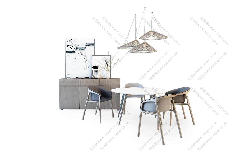 新中式圆形大理石餐桌椅、装饰柜组合3D模型