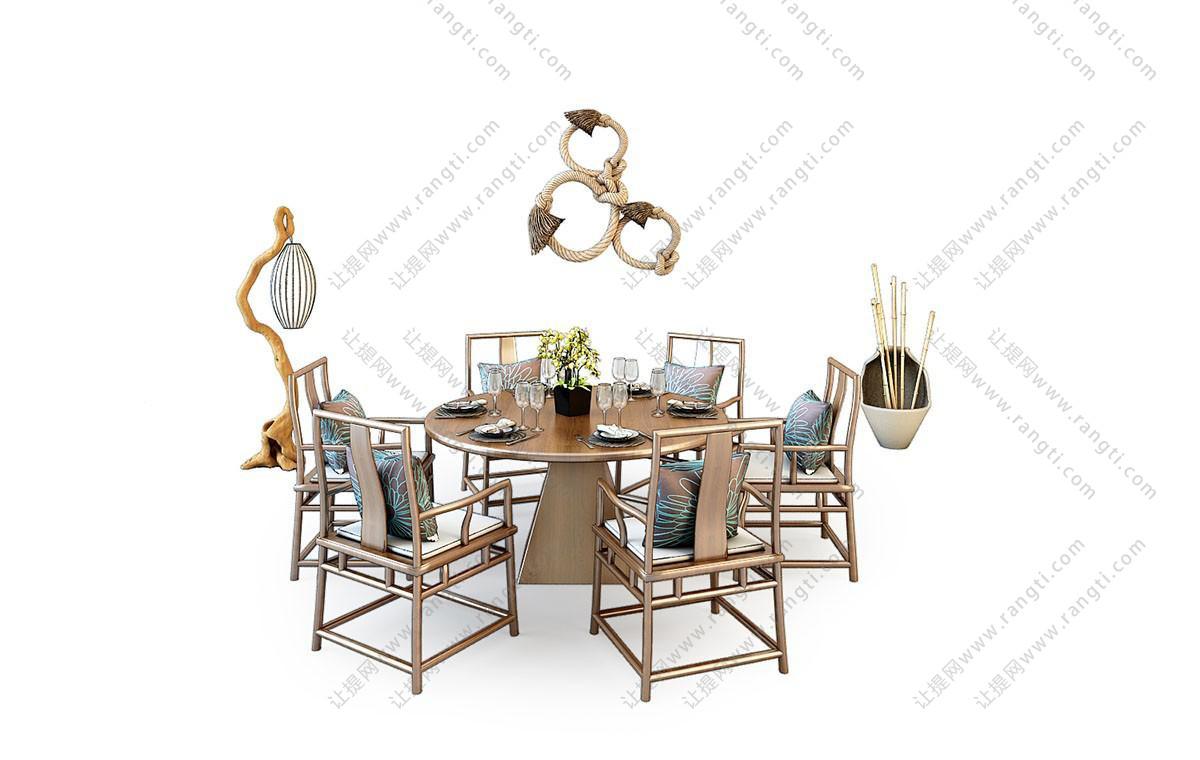 中式餐桌椅、木桩落地灯组合3D模型