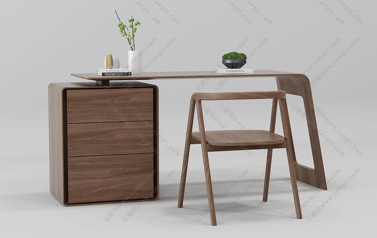 新中式实木书桌椅、椅子组合3D模型