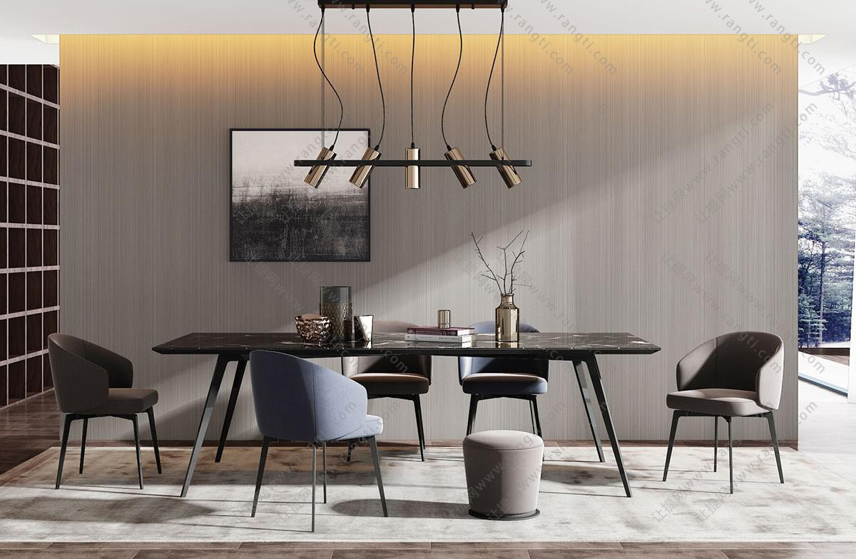 现代实木长方形餐桌椅、吊灯组合3D模型