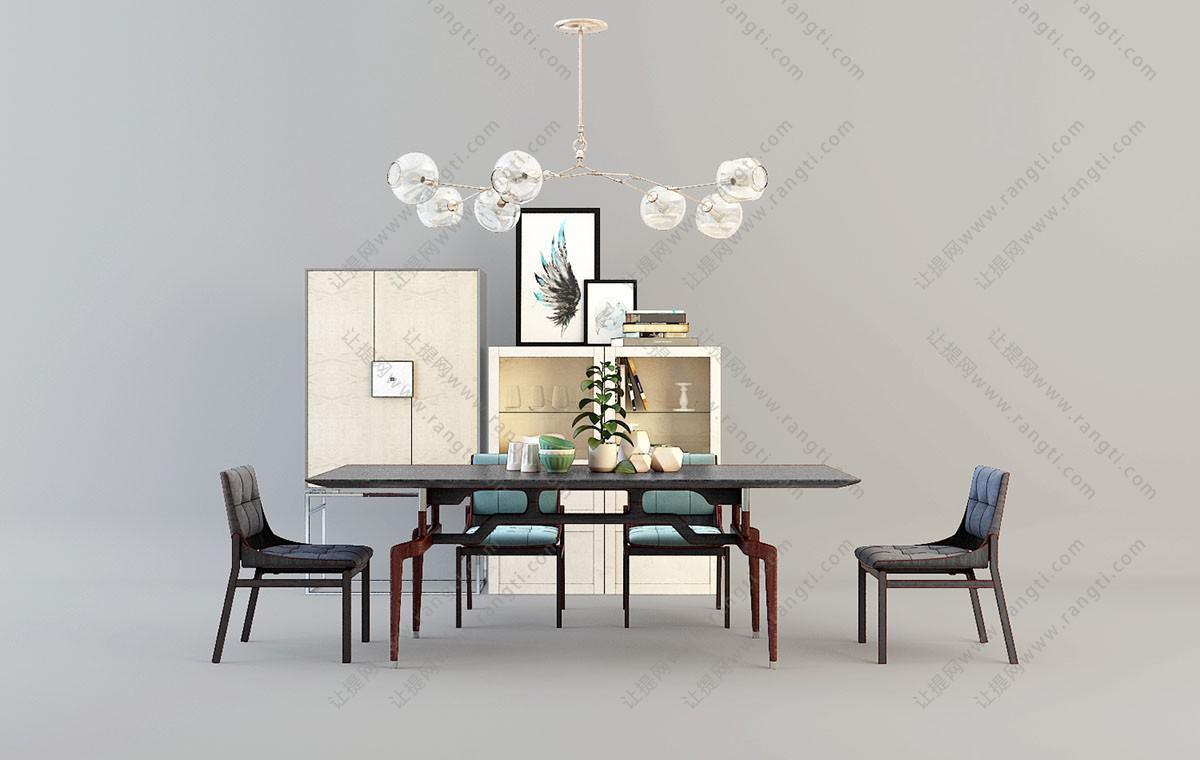 新中式实木布艺餐桌椅、餐边柜、吊灯组合3D模型