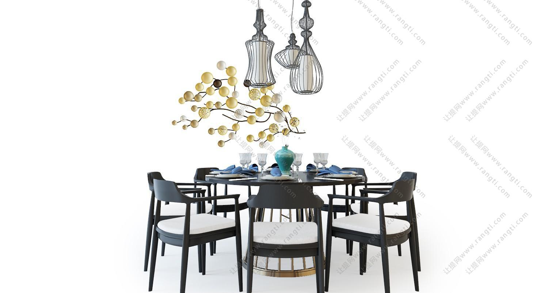 中式圆形实木餐桌椅组合3D模型