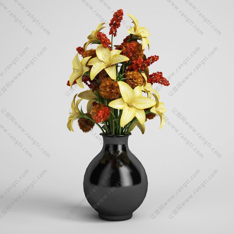 百合花瓶花卉植物、绿植3D模型