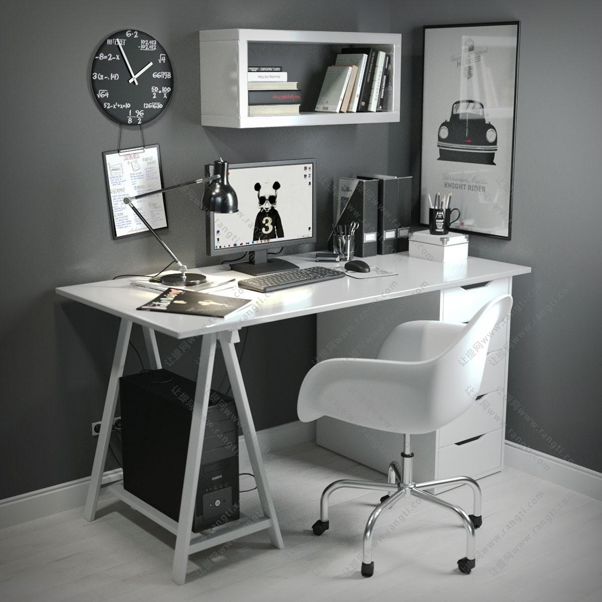 现代电脑书桌椅、转椅、台灯组合3D模型