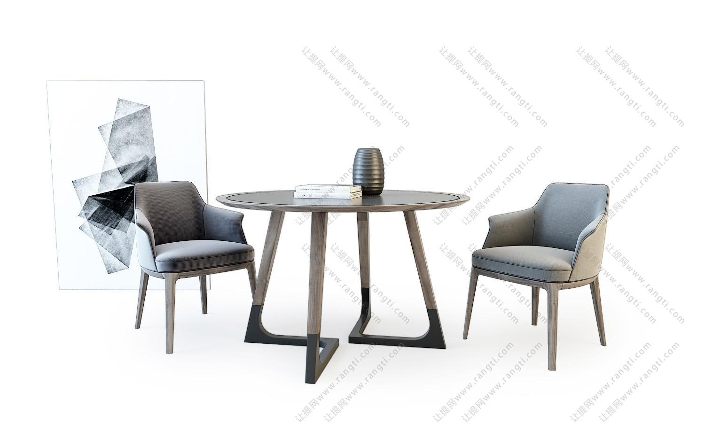 北欧实木布艺圆形餐桌餐椅组合3D模型