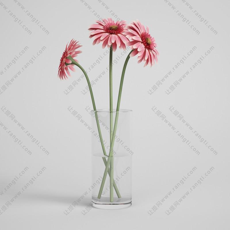玻璃杯红色花卉3D模型