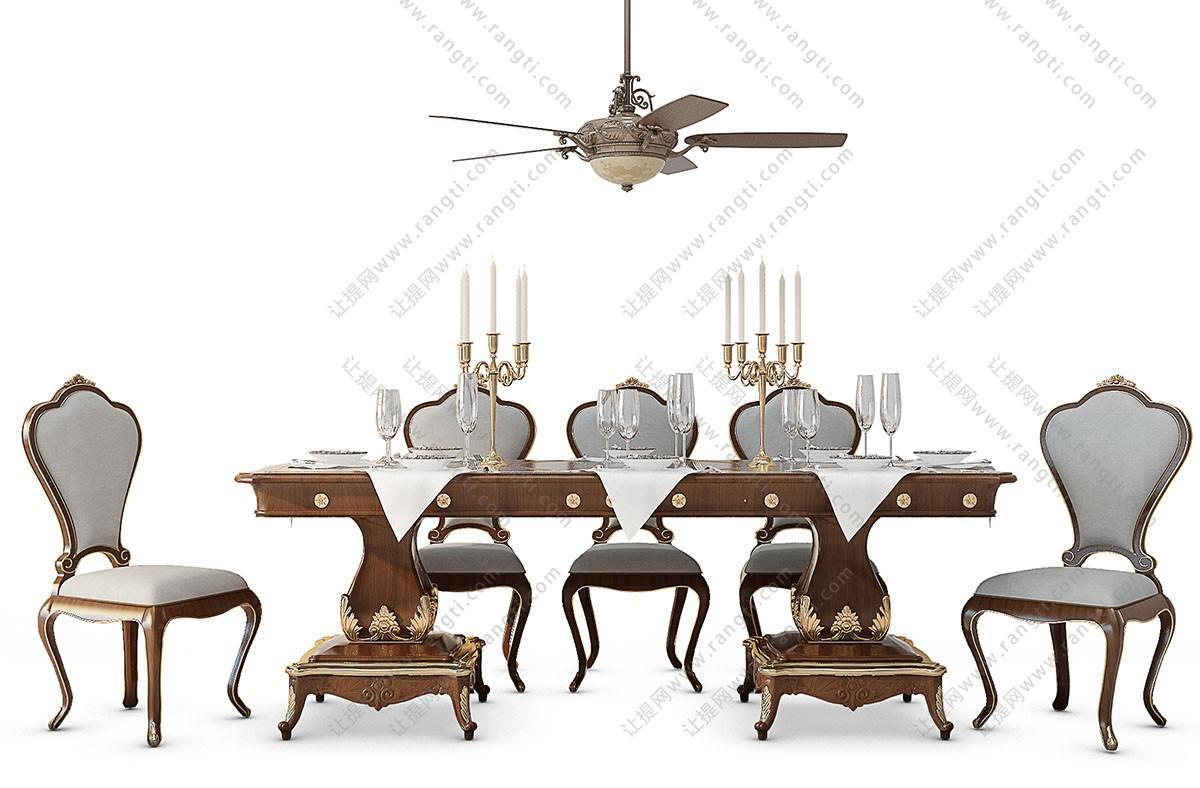 欧式餐桌椅、风扇灯组合3D模型