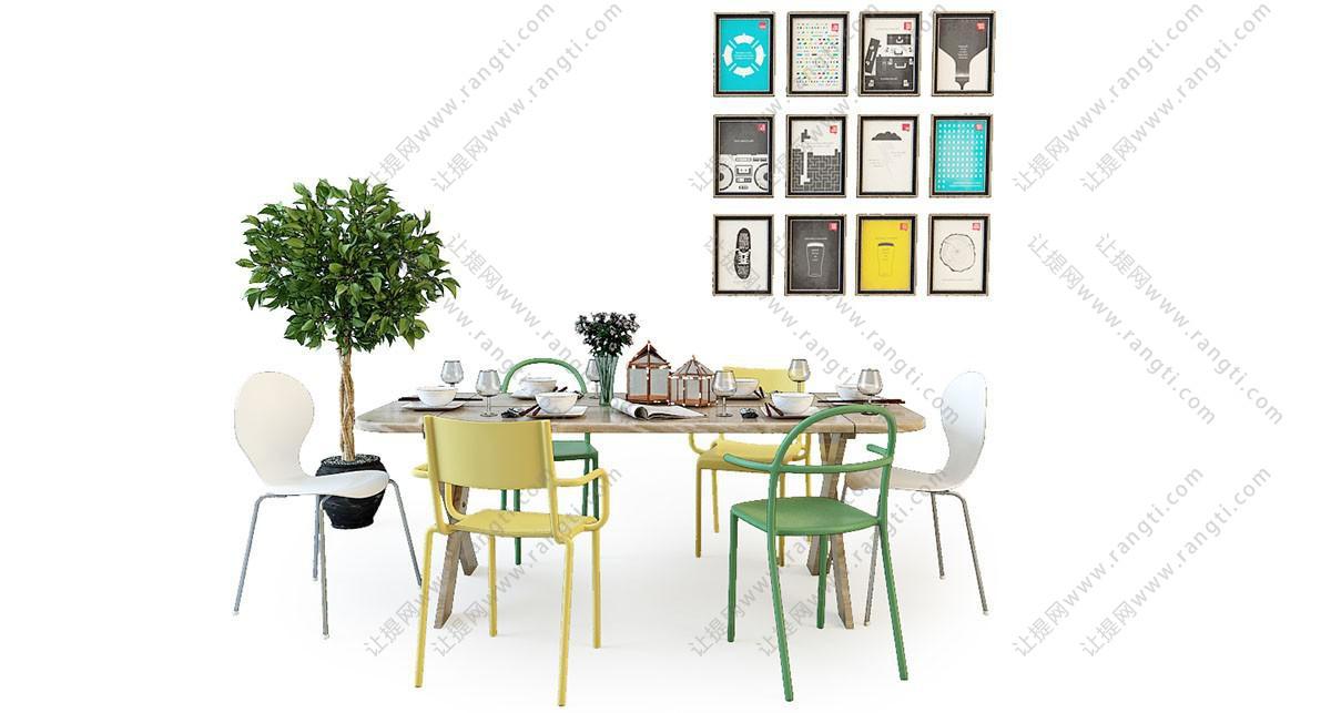 北欧多彩混搭餐桌椅、照片墙组合3D模型