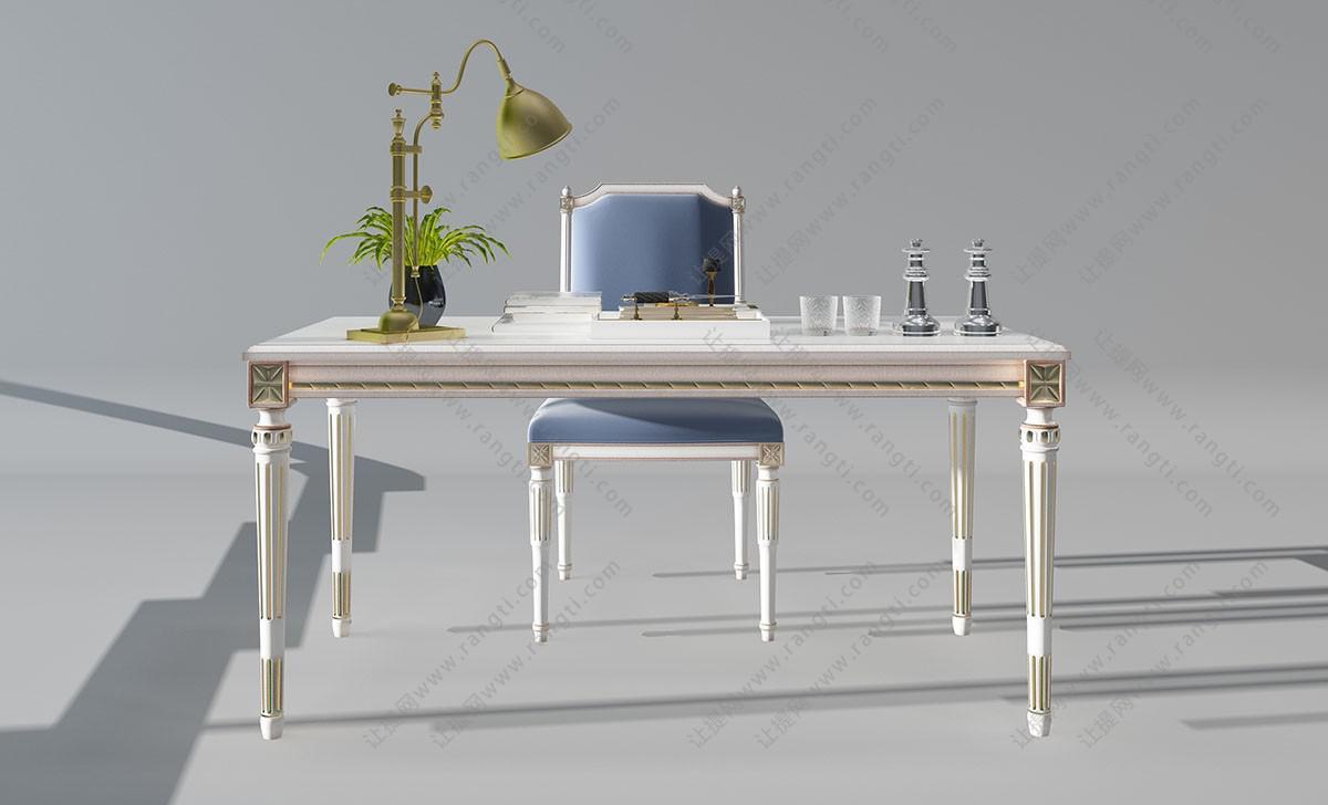 法式长方形书桌椅3D模型