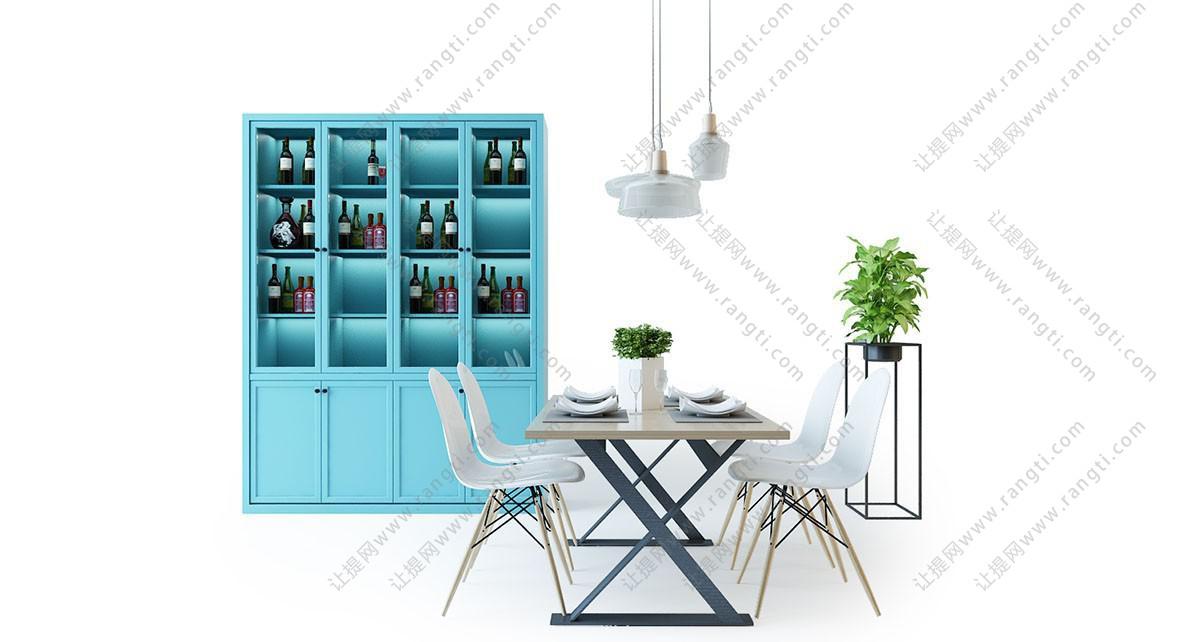 北欧简约实木餐桌椅、餐边柜组合3D模型