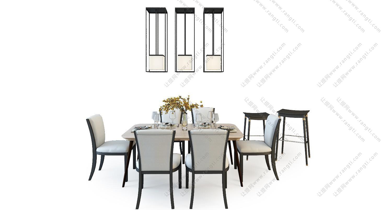新中式餐桌椅、餐具组合3D模型
