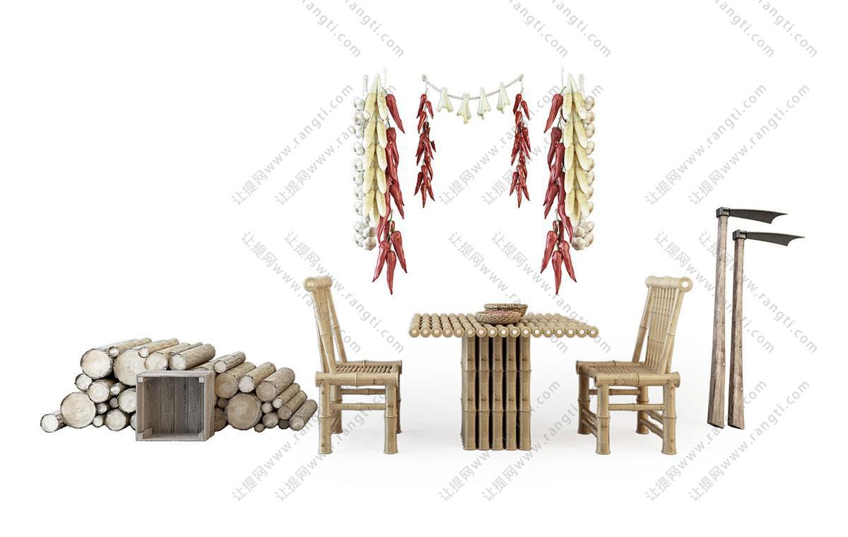 中式民宿竹编餐桌椅组合3D模型