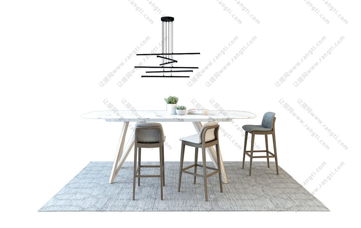 北欧餐桌椅、吧台椅组合3D模型