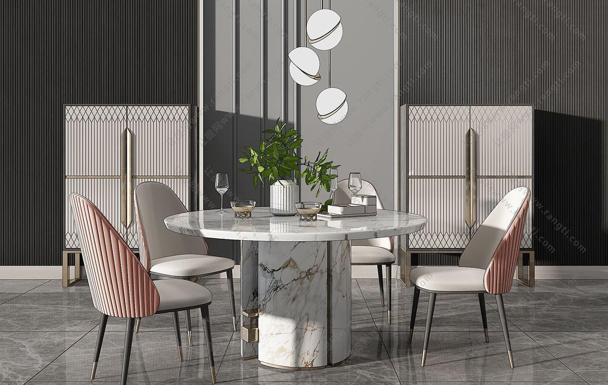 北欧轻奢圆形大理石餐桌椅、边柜组合3D模型
