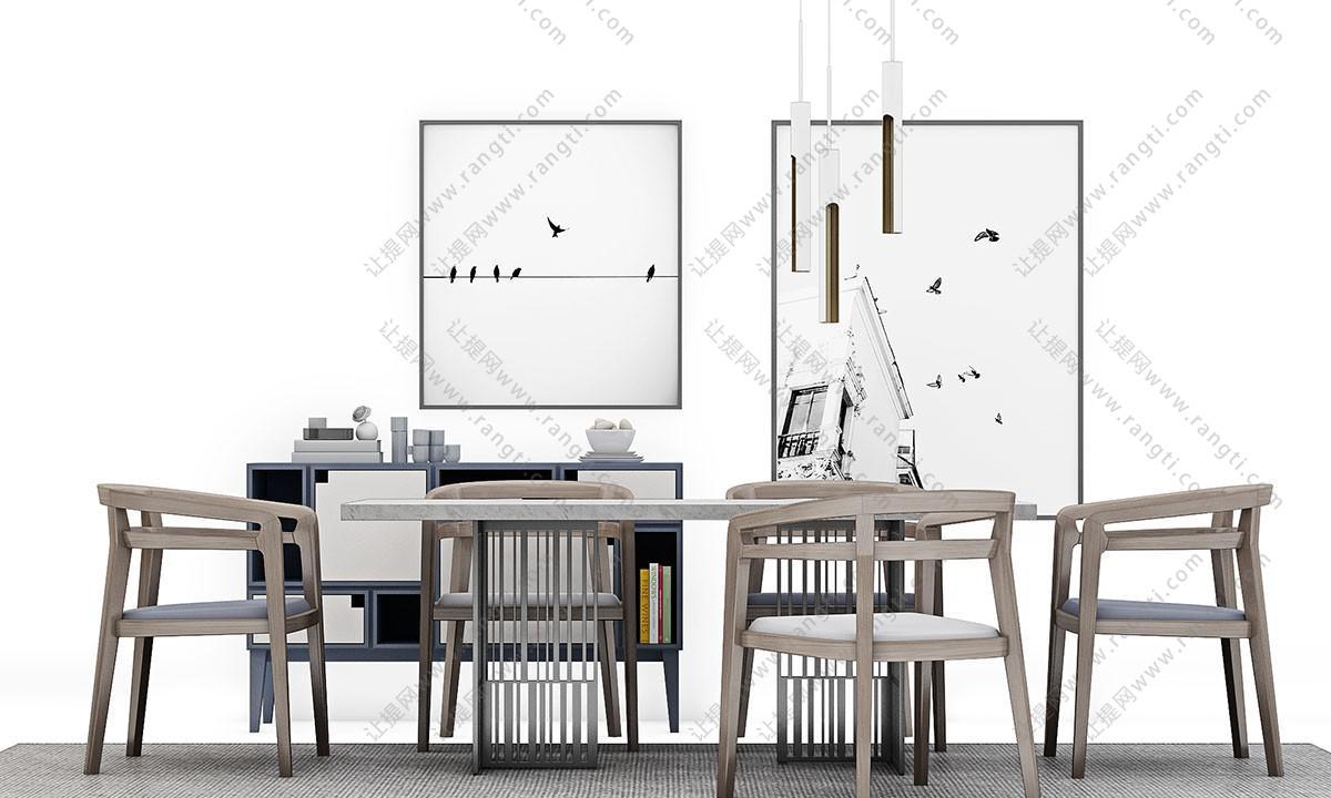 新中式实木布艺餐桌椅、边柜组合3D模型