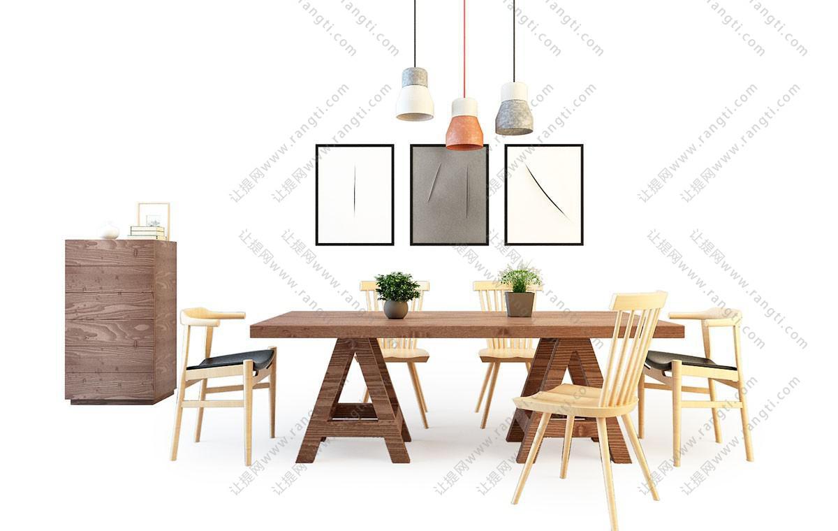 北欧实木餐桌椅、装饰柜组合3D模型