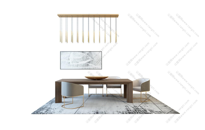 新中式长方形餐桌椅组合3D模型