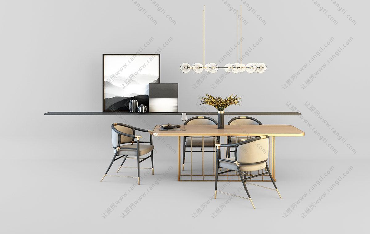 新中式餐桌椅、装饰画组合3D模型