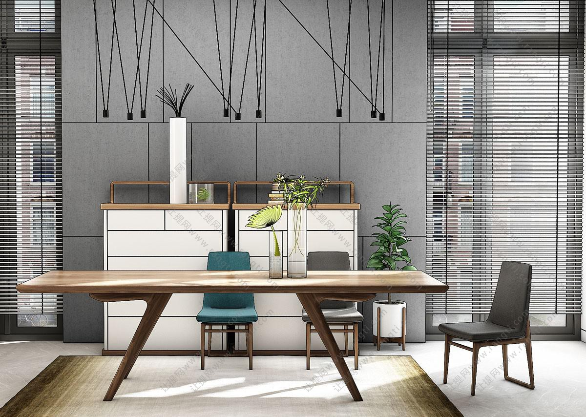 现代长方形实木餐桌椅、边柜组合3D模型