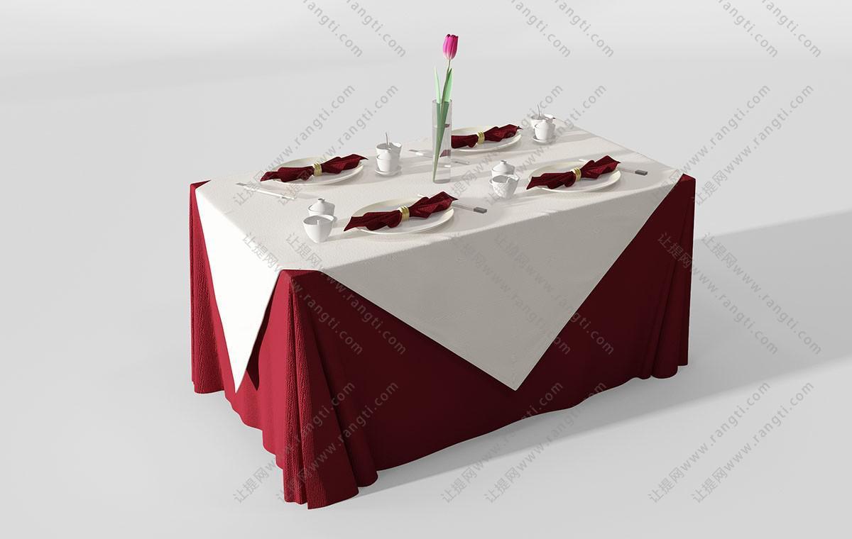现代酒店长方形餐桌、桌布组合3D模型
