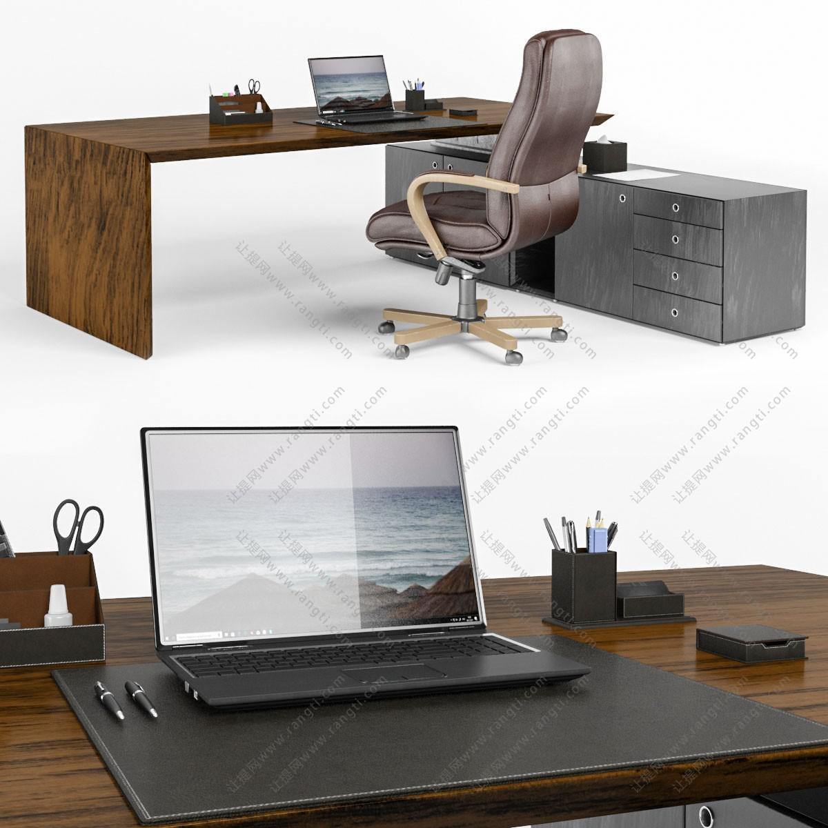 现代老板桌办公桌、办公椅、转椅组合3D模型