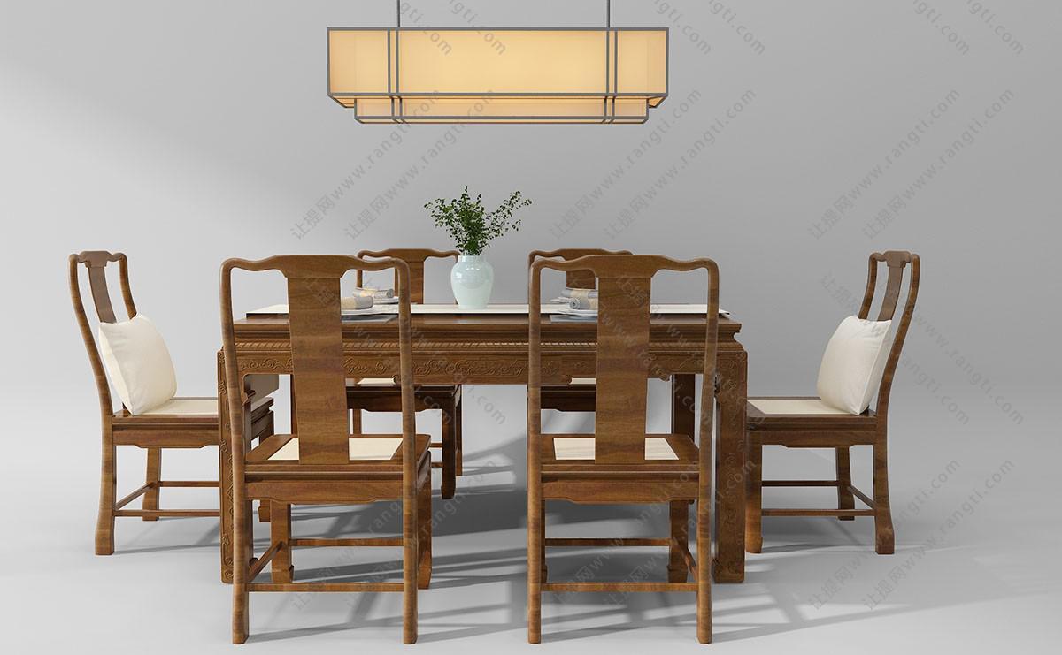 中式实木餐桌椅、吊灯组合3D模型