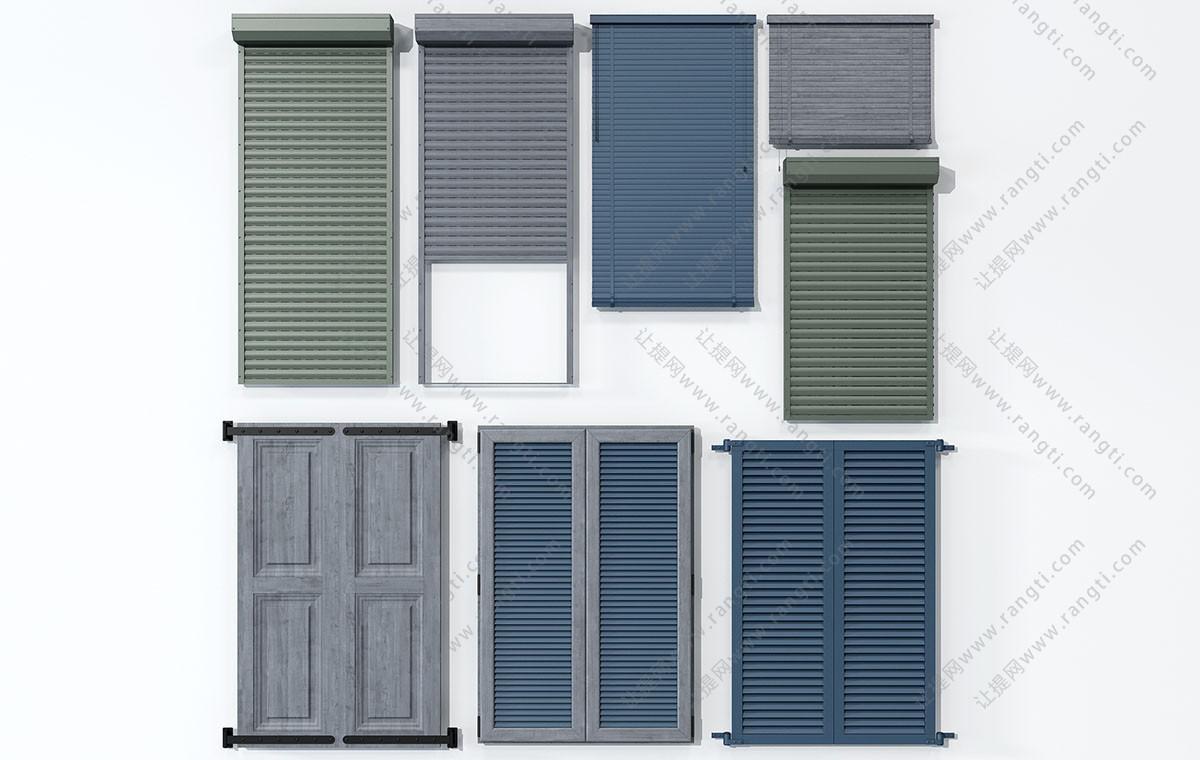 现代实木百叶窗帘、百叶窗3D模型