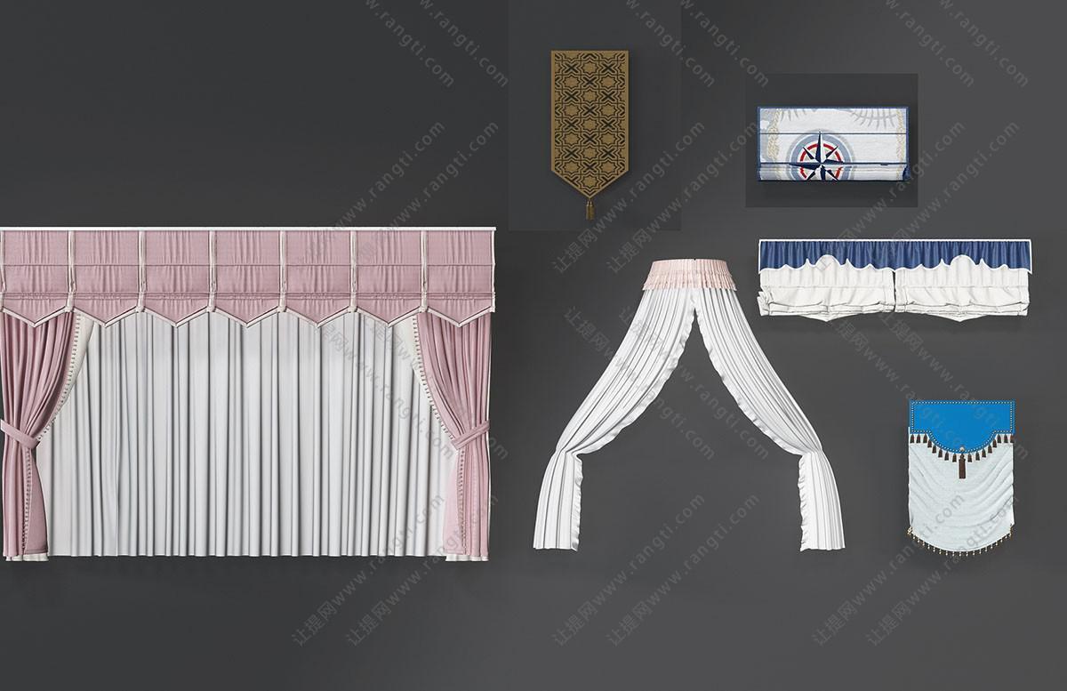 美式窗帘、床帏、拉帘、折叠窗帘3D模型