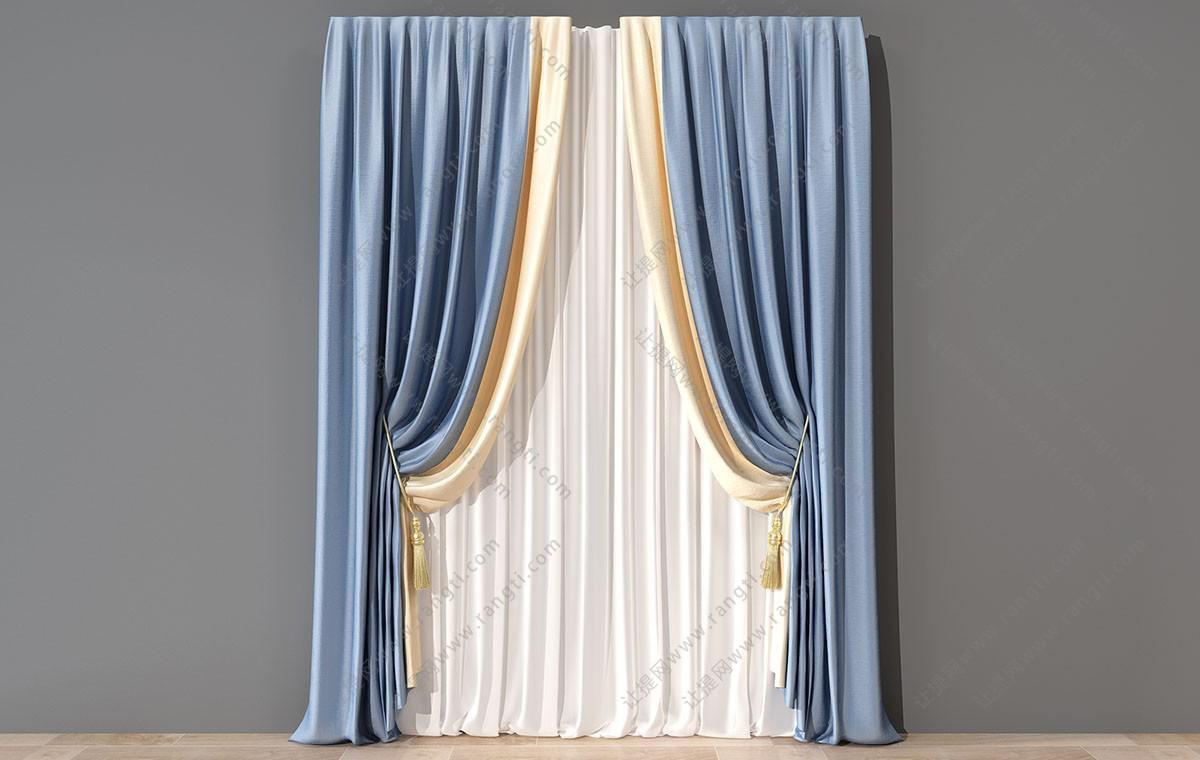 简欧套色窗帘3D模型