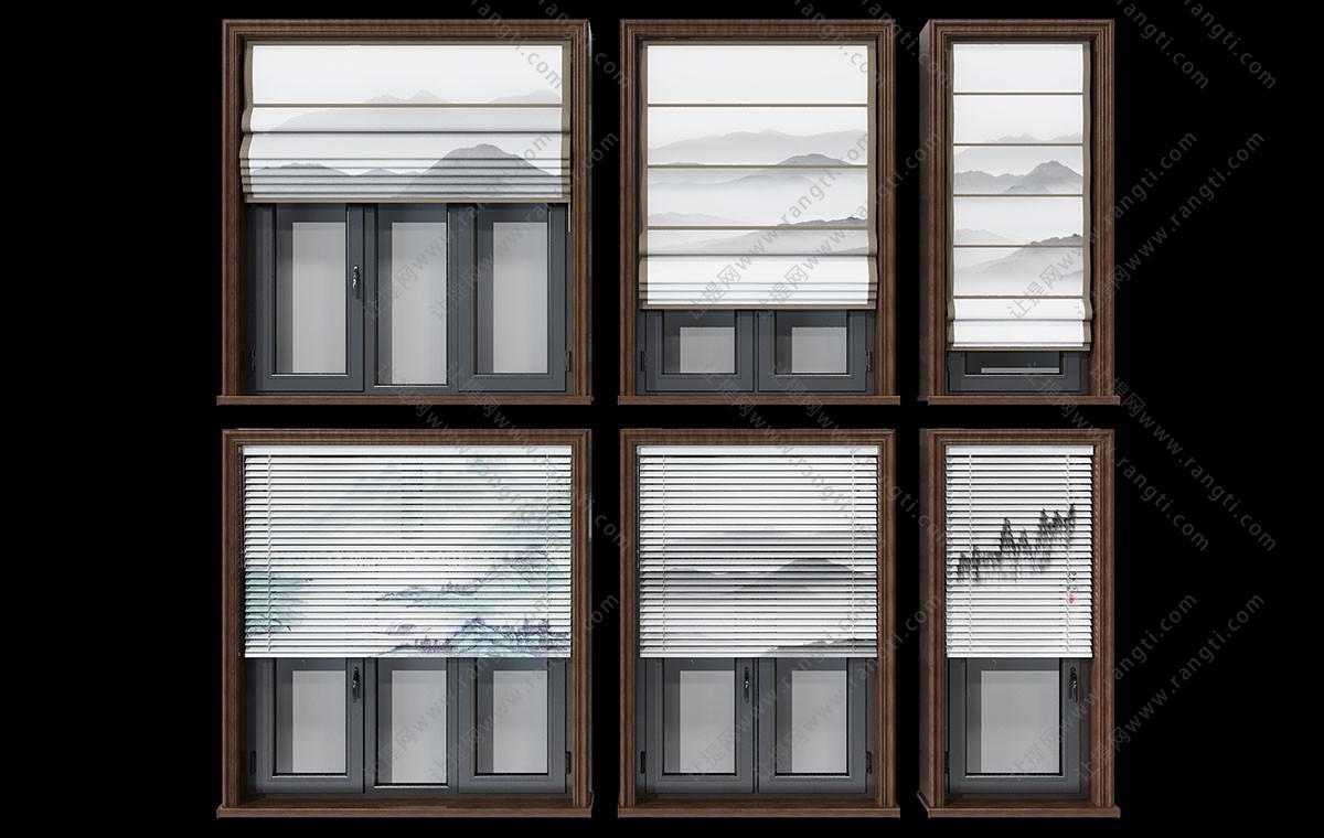 新中式山水拉帘、百叶窗帘3D模型