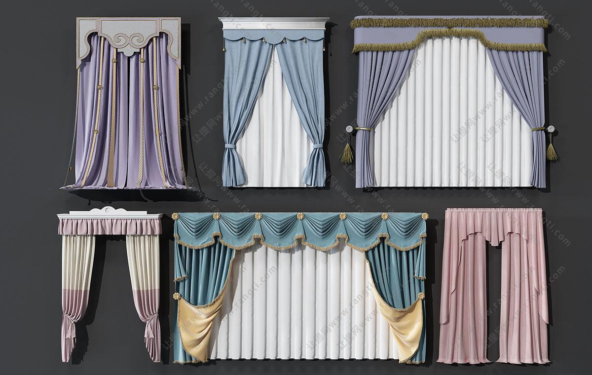欧式窗帘、窗幔3D模型