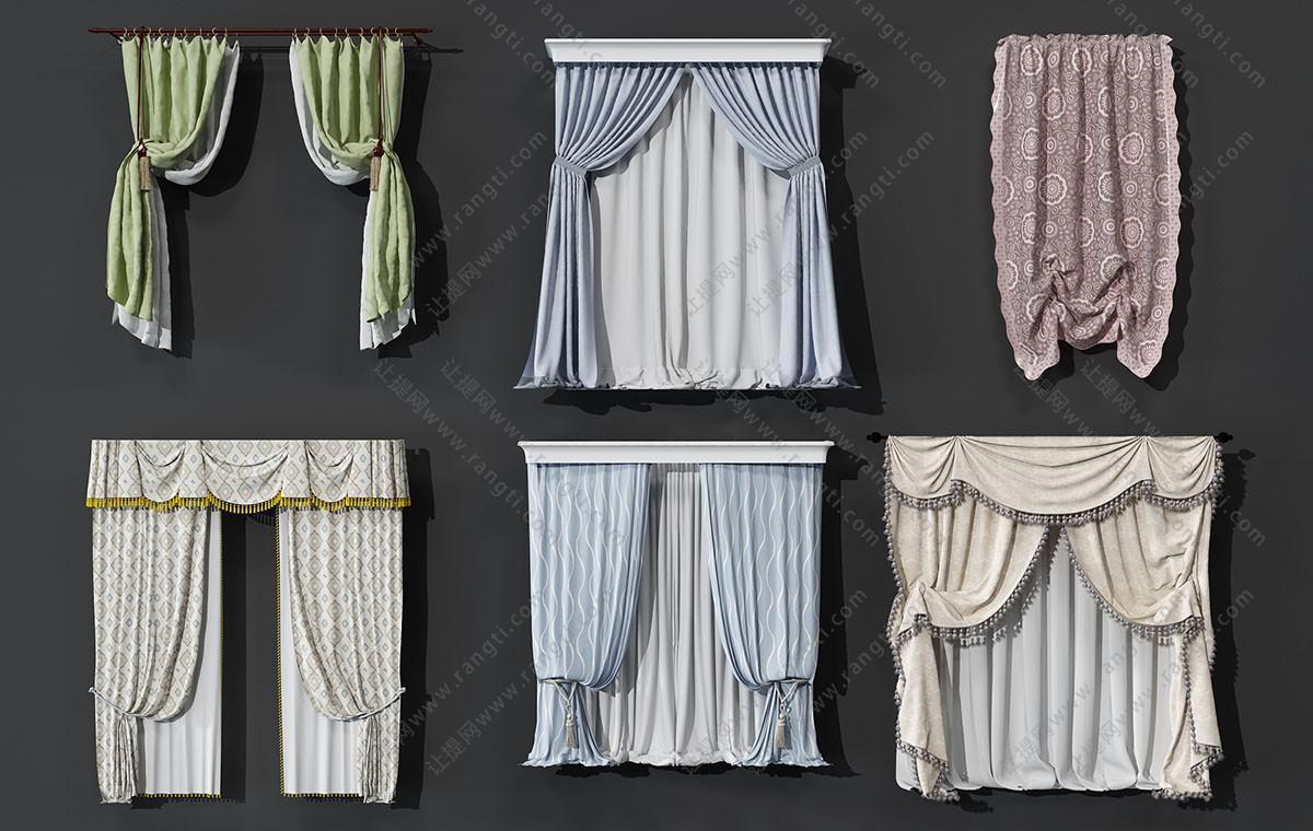 欧式异形窗帘、纱帘3D模型