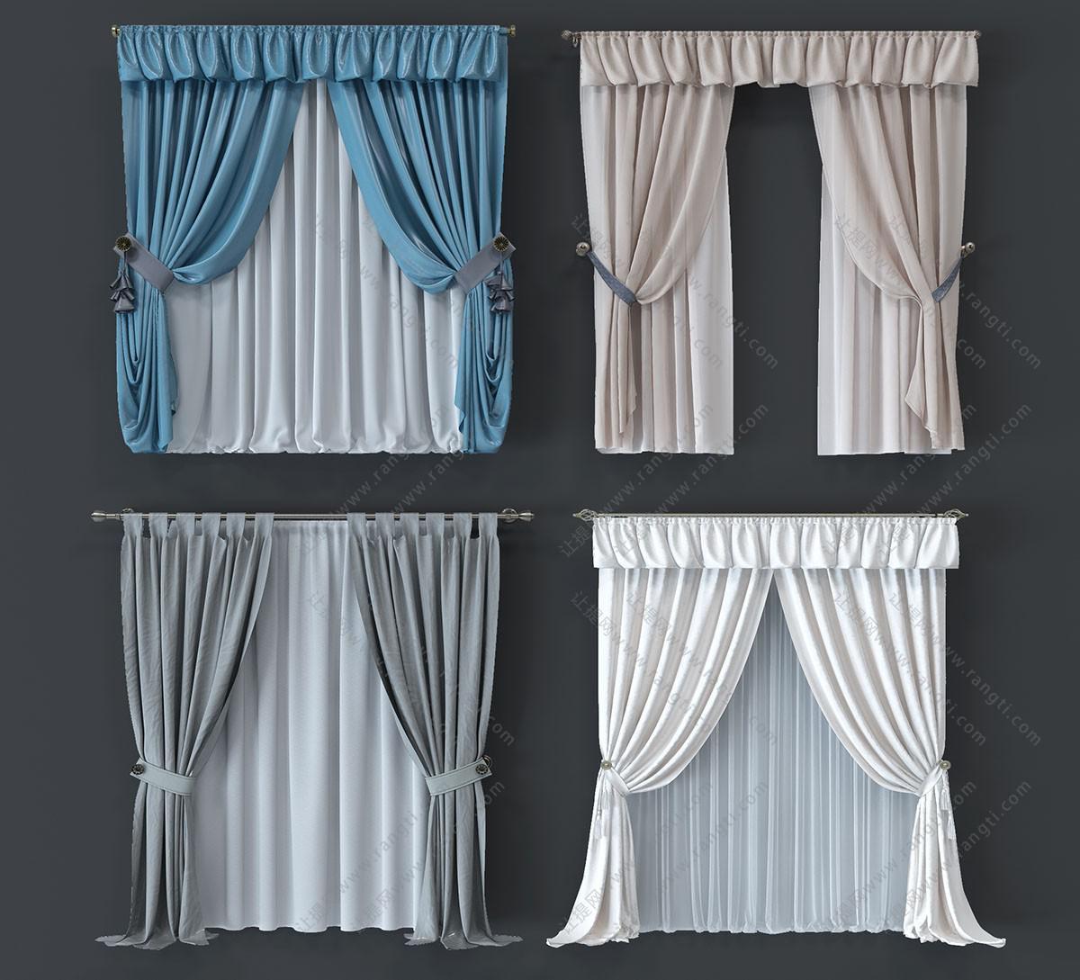 简欧纯色布艺窗帘、窗帘杆3D模型