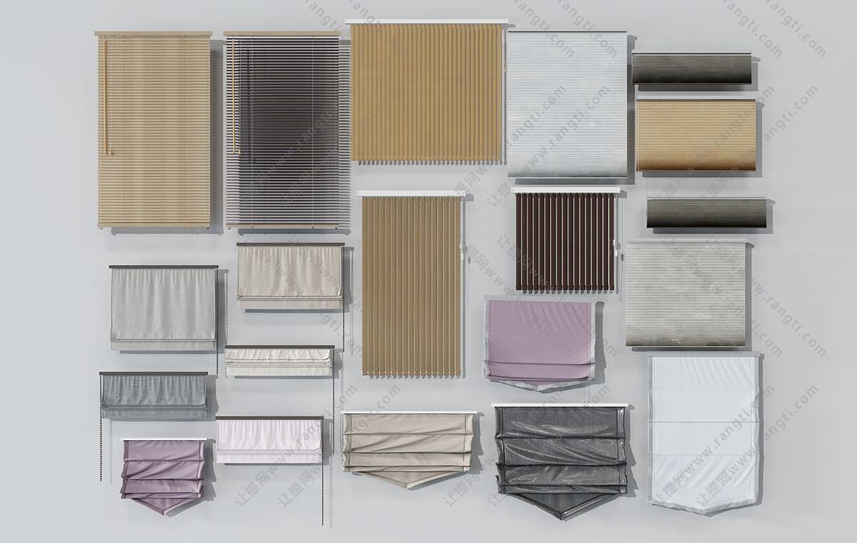 现代竹帘、布艺拉帘、卷帘3D模型